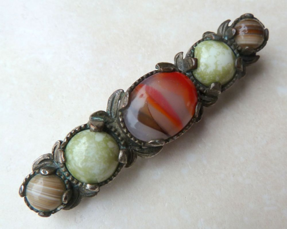 Vintage Miracle Faux Agate Celtic Bar Brooch